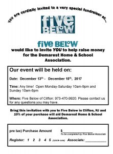 Bring The Invitation Below With You To Five Below In Clifton Nj And 10 Of Your Purchase Will Aid Demarest Home Schoolociation